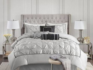 Piedmont Ruched Comforter Set  Full  Gray   7pc
