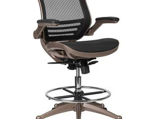 Flash Furniture Mid Back Transparent Black Mesh Drafting Chair with Melrose Gold Frame and Flip Up Arms