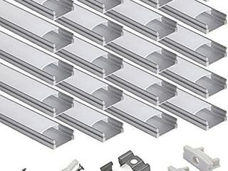 hunhun 20 Pack 3 3ft 1Meter U Shape lED Aluminum Channel System with Milky Cover  End Caps and Mounting Clips  Aluminum Profile for lED Strip light Installations  Very Easy Installation