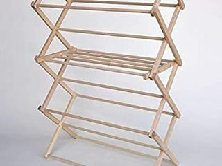 Benson Wood Products Extra large Wooden Clothes Drying Rack Folding  Heavy Duty  Free Standing Portable Garment laundry Dryer Collapsible Clothing Hanging Racks