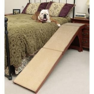 PetSafe CozyUp Bed Ramp for Dogs and Cats   Durable Frame Supports up to 120lb   Furniture Grade Wood Pet Ramp with Cherry Finish   High Traction Carpet Surface a Great for Older Animals