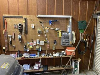 Tools & Miscellaneous Items on Garage Wall