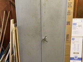 Metal Two-Door Storage Cabinet with Contents