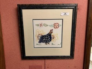 Framed Needle Point Rooster