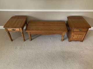 Three-Piece Oak Table Set