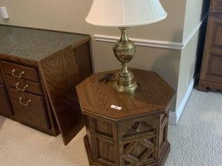 Lamp Table and Brass Lamp