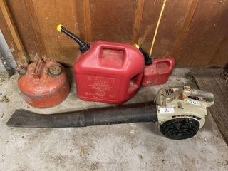 Echo Gas Blower and Three Gas Cans