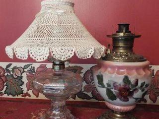 Lot #1941 - Clear glass oil lamp, floral font