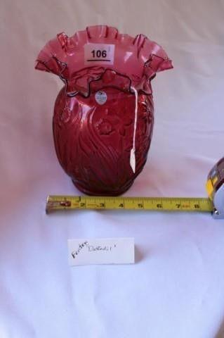 Fenton Pink Daffodil Antique Vase
