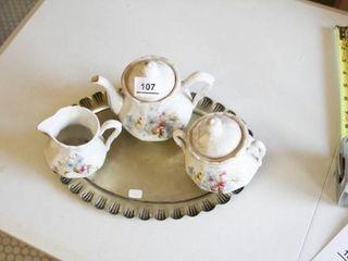 Antique Tea Set   Gold tone tray