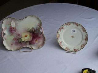 Hand Painted Rose Tray and M Z Austria Plate