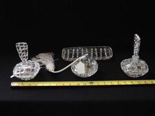 2   Crystal perfume bottles  tray    Jewelry Tray