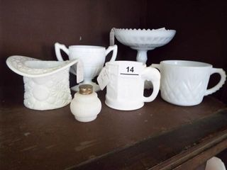 Milkglass items  storybook cup  Imp  dish