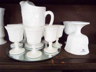 Milkglass Grape Design Pitcher and Goblets