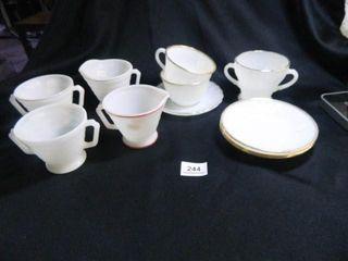 FireKing  7  pieces Saucers Cups