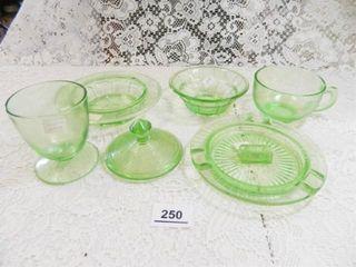 Green Depression Glass per Seller