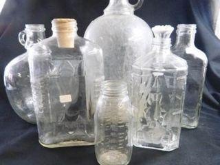 Glass Jugs  Bottles  Assorted   6