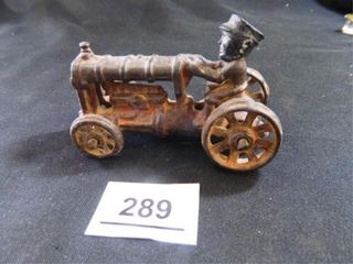 Antique Cast Iron Tractor w driver
