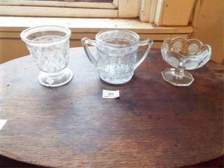 3 Glass Dishes  Avon glass  Bird Decor