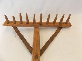 Primitive Wood   Metal Rake  67