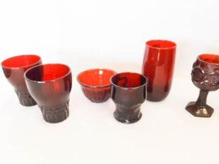 Ruby Red Glasses  Cups  30  Variety