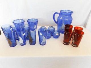 Sailboat Glassware  Red  Blue  15