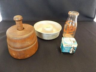 Wood Butter Mold  Milk Bottle