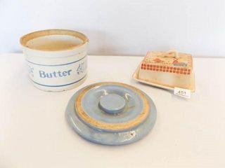 Butter Crock  Blue Crock lid  Cheese Keeper