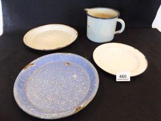 Enamelware  pitcher  plates  pans  4