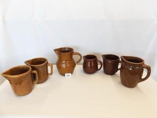 Brown Pottery Pitchers   Variety  6