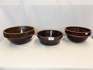 Brown Stoneware Bowls  3