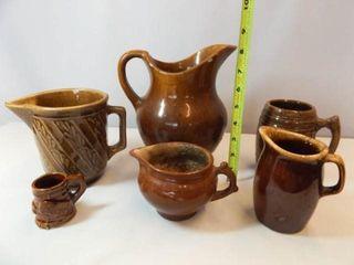 Brown Pottery Pitchers  Mugs   Variety  6