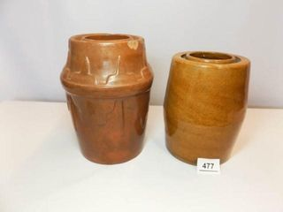 Brown Stoneware Canning Crocks  2