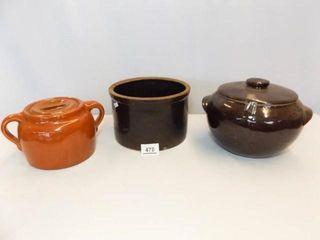Brown Stoneware Bean Pots  2  Crock