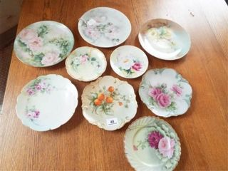Hand painted Porcelain Plates  9  Total