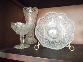 Matching Pattern Glassware Vase  BowlIJ