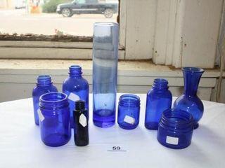 Blue Vase and bottles x 9
