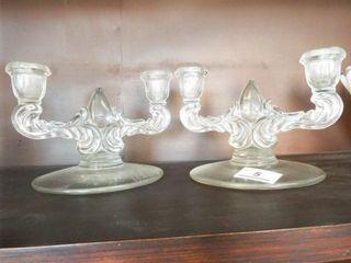 Matching Double Glass Candlesticks  2