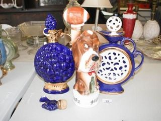 Alcohol Decanters  3 total  Dog Music Box