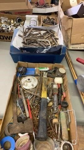 2 BOXES OF HARDWARE AND MISC ITEMS