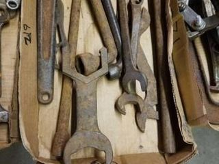 BOX OF VINTAGE WRENCHES