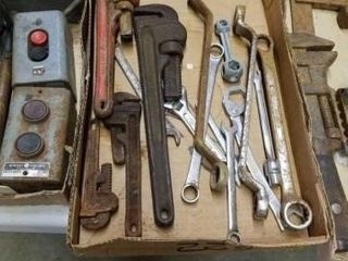 VARIOUS PIPE WRENCHES  AND MISCEllANOUS WRENCHES