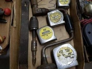 TAPE MEASURES  WOOD DRIll  PRY BAR