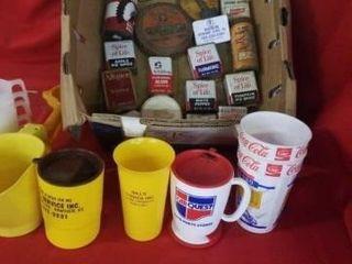 NUMEROUS ANTIQUE CANS AND MISCEllANOUS ITEMS