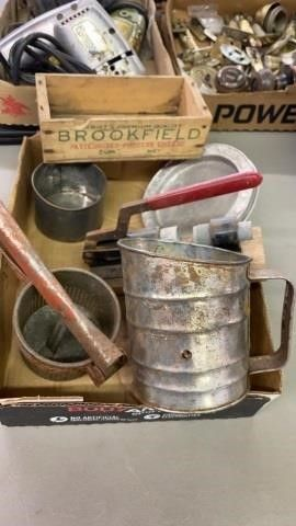 VINTAGE KITCHEN ITEMS AND CHEESE BOX