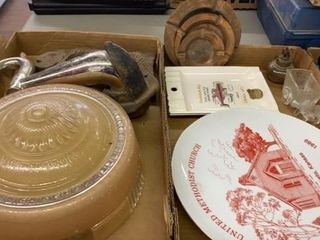 2 BOXES OF VINTAGE PlATES  ASHTRAYS AND MORE