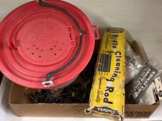 BAIT BUCKET  RIFlE ClEANING ROD AND MISC