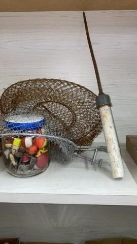 FISHING NET   JAR OF BOBBERS AND MISC AND