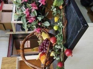 BASKET OF FlOWERS AND A BASKET OF FRUIT  FRUIT