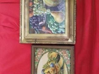 VINTAGE FRUIT PICTURES  17 X14  AND 20 X17